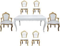 Casa Padrino Barock Esszimmer Set Weißgold Esstisch 6