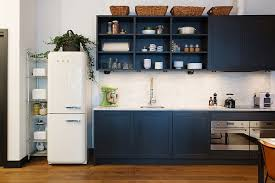 navy blue with white kitchen cabinets