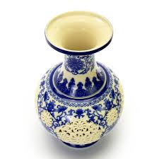Decorative Jars And Vases Chinese Blue and White Porcelain Vase with Decorative Hollow 78