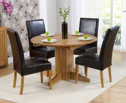trend solid oak furniture round extending dining table and 4 rustique chairs
