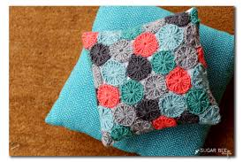 Crochet Pillow Patterns Simple Crocheted YoYo Pillow FREE Pattern And Giveaway Sugar