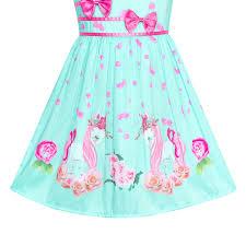 Details About Us Stock Girls Dress Green Unicorn Flower Summer Sundress Size 4 12