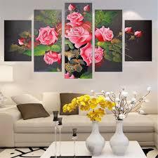 Oil Paintings For Living Room Modular Oil Painting Frameless Rose Flowers Wall Art Poster Canvas