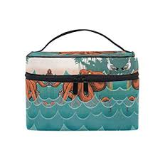 amazon makeup bag vine octopus crane wave travel cosmetic bags organizer train case toiletry make up pouch beauty
