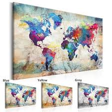 Unframed HD <b>Printed Canvas Print</b> Painting World Map <b>Home</b> ...