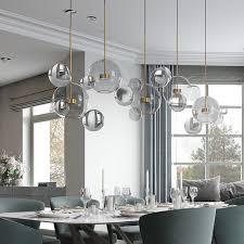 <b>Modern</b> Soap <b>Bubble</b> Clear Globe Glass 3 Light Dimmable LED ...