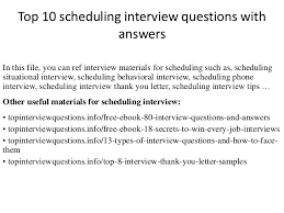 Thank You For Scheduling The Interview Top 10 Scheduling Interview Questions With Answers