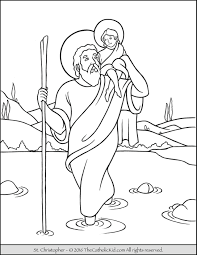 Coloring Pages Of Saints With Saint Christopher Page The Catholic