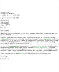 Sample Email To Apply For A Job 8 Job Application Letters For Chef Free Sample Example Format