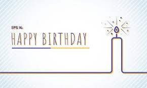 Template Happy Birthday Greeting Card With Candle Blue Line