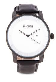 Mens Black Leather Strap Analog Watch