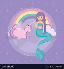 Design Mermaid Cute Unicorn And Mermaid Design