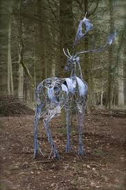galvanised wrought iron deer sculpture by sculptor david freedman titled fallow deer metal