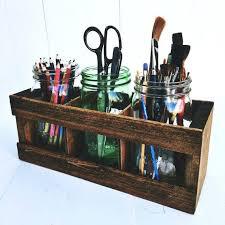 facsinating rustic desk accessories images mason jar organizer pencil or paintbrush holder office organization salvage reclaimed