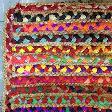natural multi coloured braided rectangle rug 50 cotton