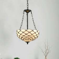 tiffany large stained glass pendant 3 light