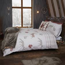 woodland animals terracotta brushed cotton duvet set