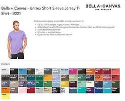 Bella Color Chart 20 Bella Canvas Unisex T Shirt 3001 Wholesale Bulk Lot Ok To Mix Xs Xl Colors