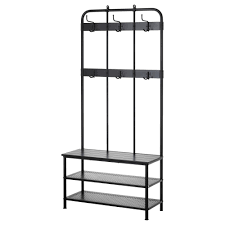 Coat Rack And Shoe Storage PINNIG Coat Rack With Shoe Storage Bench Black 100 Cm IKEA 10