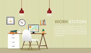 design office desks. Elegant Flat Desk Office Design Illustration Desks