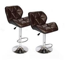 hydraulic bar stools. Brown SET Of (2) Bar Stools Leather Hydraulic Swivel Dinning Chair Barstools B01 0 T