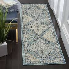 safavieh evoke vintage light blue ivory distressed runner 2 2 x 7