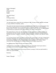 End Employment Letter Termination Of Contract To Employer