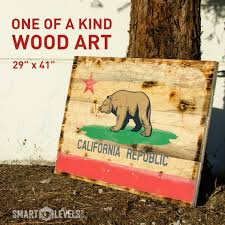 california bear flag wood wall art