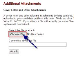 Screenshot from online application showing how to select a file to upload  as an attachment