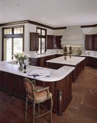 White Marble Floor Kitchen Contemporary Kitchen With Dark Wood Cabinets And White Marble