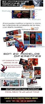 Invitaciones De Spiderman Para Editar Kit Imprimible Tarjetas Spiderman Especial 99 00 En Mercado Libre