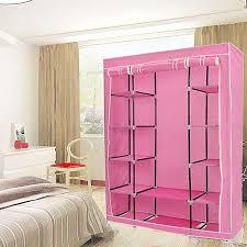 portable closet storage organizers wardrobe clothes rack hanger closet organizer with shelves pink