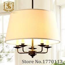 american rustic style iron pendant lamp led fabric shade cord