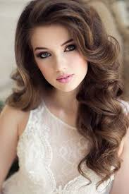 long wavy wedding hairstyle and makeup deer pearl flowers