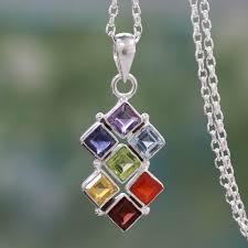 multi gemstone sterling silver necklace chakra jewelry wellness