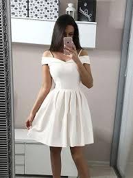 <b>Custom Made</b> A Line <b>Short</b> White Off Shoulder <b>Prom</b> Dresses, <b>Short</b> ...