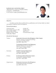 Resume Format For Ojt Sample Skills Tourism Students With Hrm Fresh