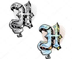 Tetování Styl Písmeno H S Příslušnými Symb Stock Vektor