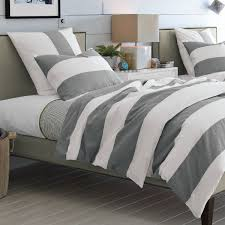 country bedroom decor with feather gray stripe duvet cover sets pure cotton fabric material pure cotton fabric material and solid white wooden bedside