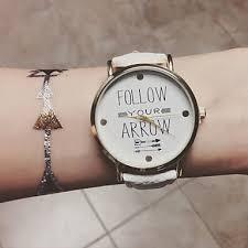 Watch Quotes Gorgeous Women's Wrist Watch Quartz PU Band Analog Bohemian Fashion White One