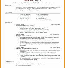Example Cv Resume Amazing Security Guard Cv Template Resume Examples Of Jobs Armed Sample