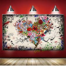 graffiti design abstract wall art heart flowers canvas prints painting pictures decor for living room unframed on wall art heart designs with graffiti design abstract wall art heart flowers canvas prints