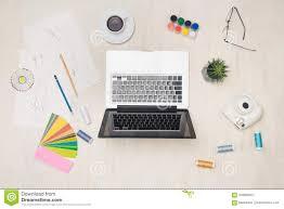 Graphic Designer At Desk Graphic Designer Desk Essentials Top View With Wooden