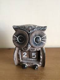 fair trade hand carved wooden owl perpetual calendar shabby chic grey