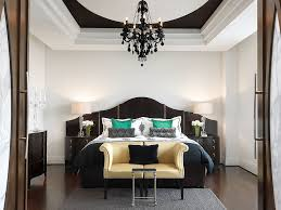striking black chandelier for the white bedroom ideas