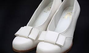 white leather womens bow pumps vintage repro shoes