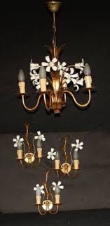 vintage french golden toleware chandelier matching wall lights ref ajl10