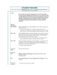 Resume Template No Experience Student Bitacorita