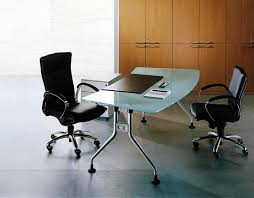 image of contemporary glass office desks