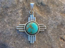 new mexico zia turquoise and silver pendant southwestern native jewelry designs from santa fe silverworks by award winning artist gregory segura